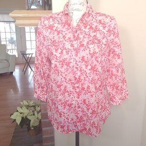 Karen Scott Petites floral button down blouse